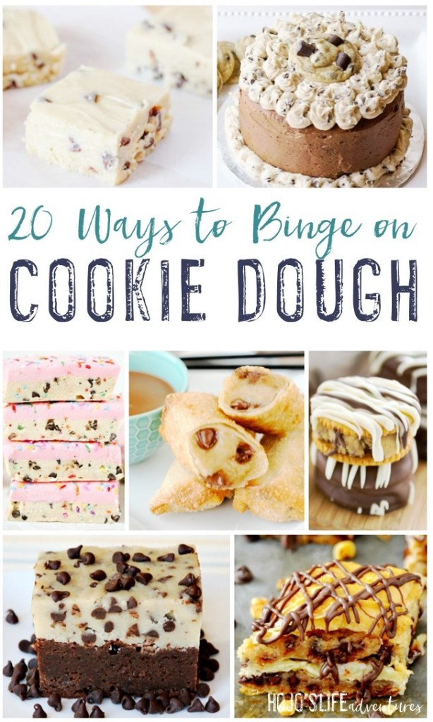 Cookie dough. Those two words bring pure joy to many people's lives. This round up includes 20 different recipes so you can binge on cookie dough. These will allow you to enjoy your favorite treat at ANY time. See recipes for cakes, egg-less cookie dough, and much more! Check them all out now.