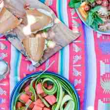 There really is nothing to this simple Watermelon-Cucumber salad, an easy Mexican recipes you make again and again and never tire of. Fresh produce doused in lime, that's it! #holajalapeno #watermelonsalad #watermelonrecipes #summersalads #easysaladrecipes