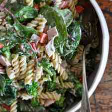 Ham and broccoli pasta salad made with smoky ham and fresh broccoli makes a healthy and hearty pasta salad recipe all tossed in a creamy yogurt dressing.