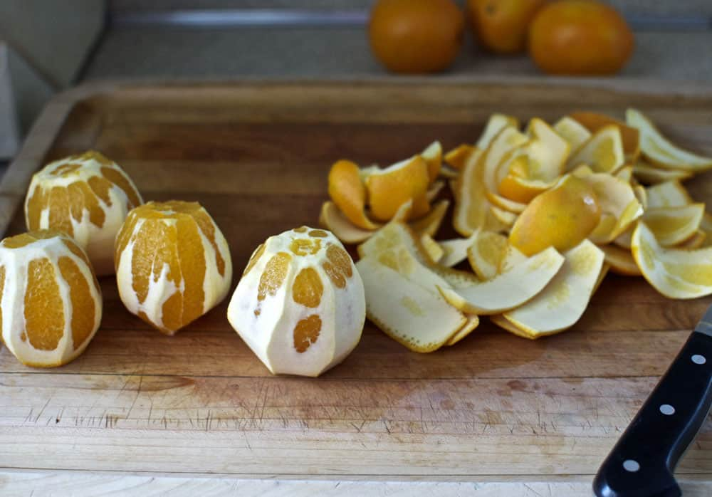 Peeling the oranges