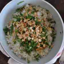 This coconut-cilantro rice is an easy and delicious gluten-free side dish made with coconut milk and topped with fresh cilantro and toasted almonds.
