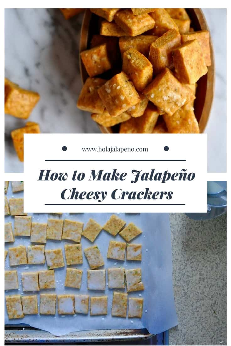 These jalapeño cheese crackers are crisp little bite-sized crackers with spicy jalapeño and aged Cheddar cheese. Perfect for snacking with an icy margarita. #jalapenorecipe #cheese #homemadecrackers