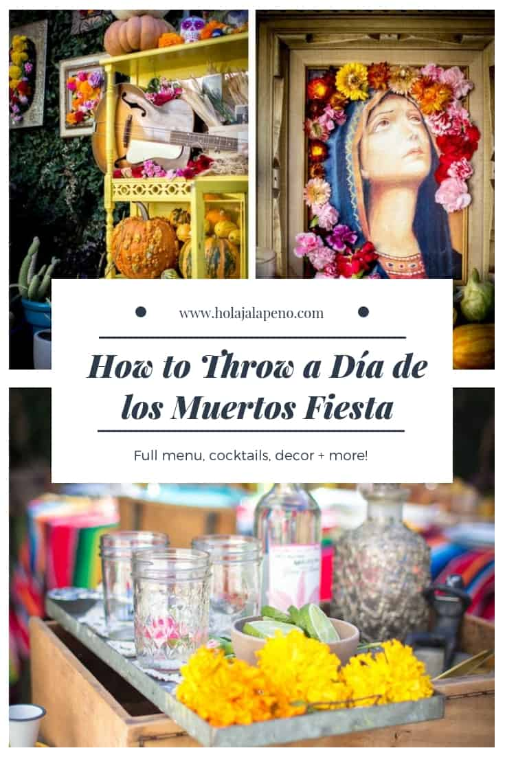 Celebrate your loved ones with a colorful Dia de los Muertos fiesta! With 6 recipes, tons of decorating ideas, DIY florals, and a shoppable list! #dayofthedead #diadelosmuertos #fiesta #dayofthedeadparty #dayofthedeadideas