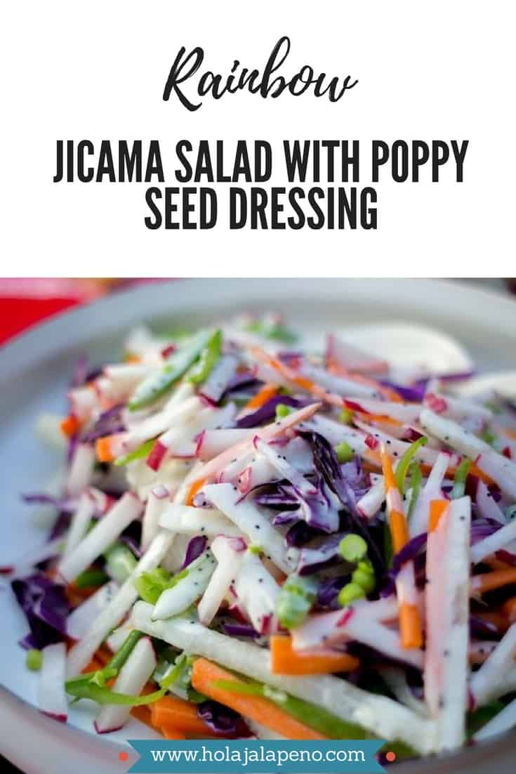 A photo collage of a picture of salad and text overlay that says Rainbow Jicama Salad with Poppy Seed Dressing.