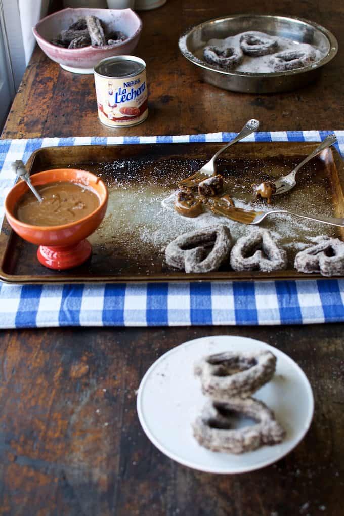 Chocolate Churro Hearts with Boozy Dulce de Leche Recipe