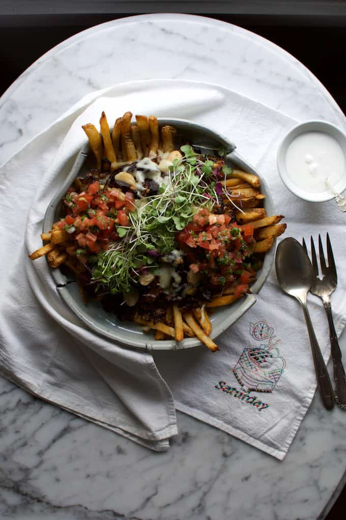 Loaded Black Mole Braised Beef Fries Recipe from @holajalapeno