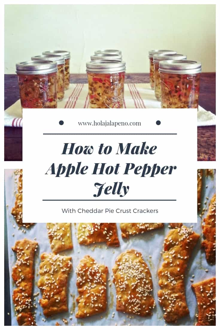 """Photo collage with text overlay that says """"How To Make Apple Hot Pepper Jelly""""."""