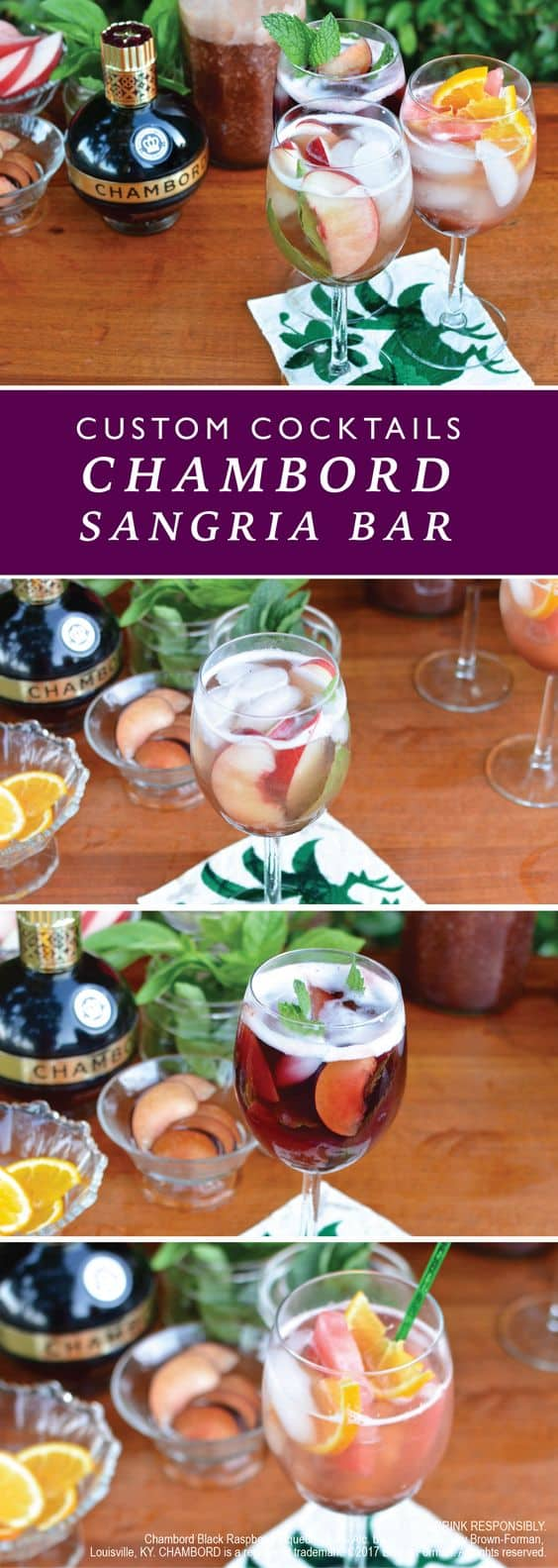 A DIY Chambord Sangria Bar is where it's at this summer! You make the fruity sangria base with Chambord and nectarines and let your friends do the rest.