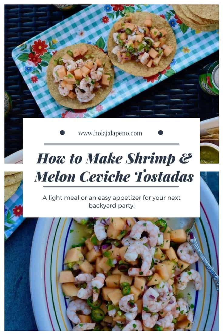 Jump into spring with this shrimp and melon ceviche! Pile this bright and citrusy salad on top of crunchy tostadas for a light meal or an easy appetizer at your next backyard party. #shrimpceviche #tostadarecipe #healthyLatinfood