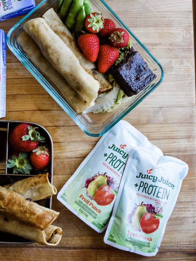 Two new lunch box recipes for back-to-school. I'm spilling my secret on how I make lunches that never get boring, plus a peek at Juicy Juice's newest drinks! #ad #juicyjuice #lunchboxideas #holajalapeno #lunchboxideaskids #lunchboxrecipes