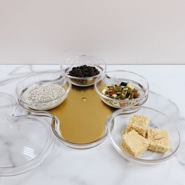 4 Compartments Gold Serving Tray with Cover - 3