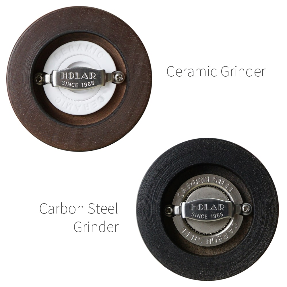 Ceramic burr mechanism of Holar wood manual salt pepper grinder_AT