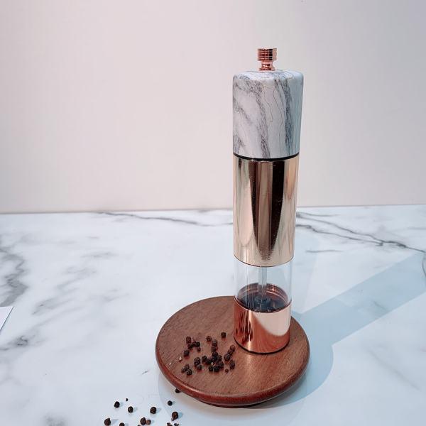 HOLAR SSAM Salt and Pepper Mill Grinder Marble Rose Gold Stainless Steel - 5