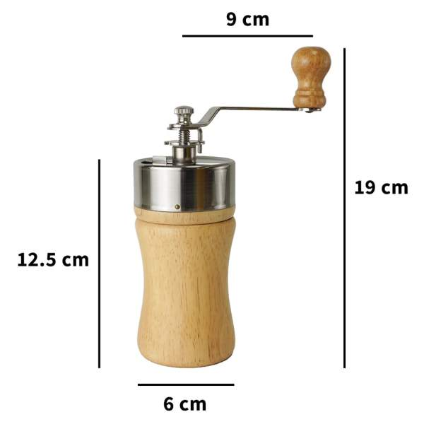 Holar - Coffee - Coffee Mill - CM-002 Portable Wooden Manual Coffee Grinder - Size