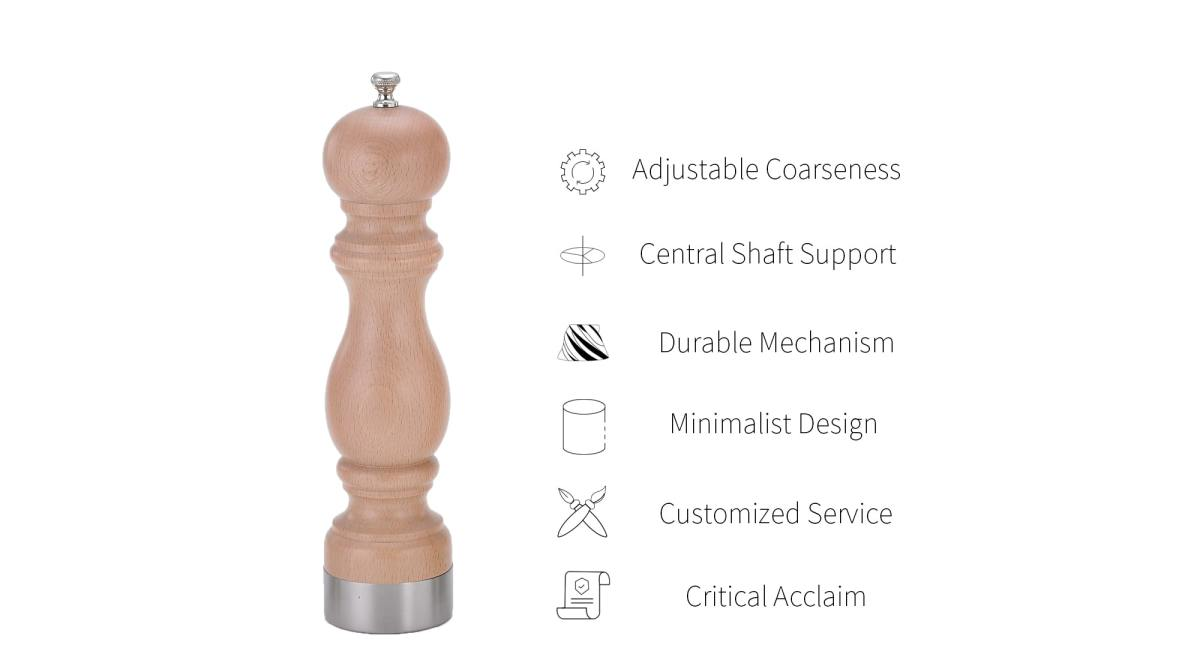 Holar Manual Pepper Grinder Salt Mill with Beech Wood_HHS2