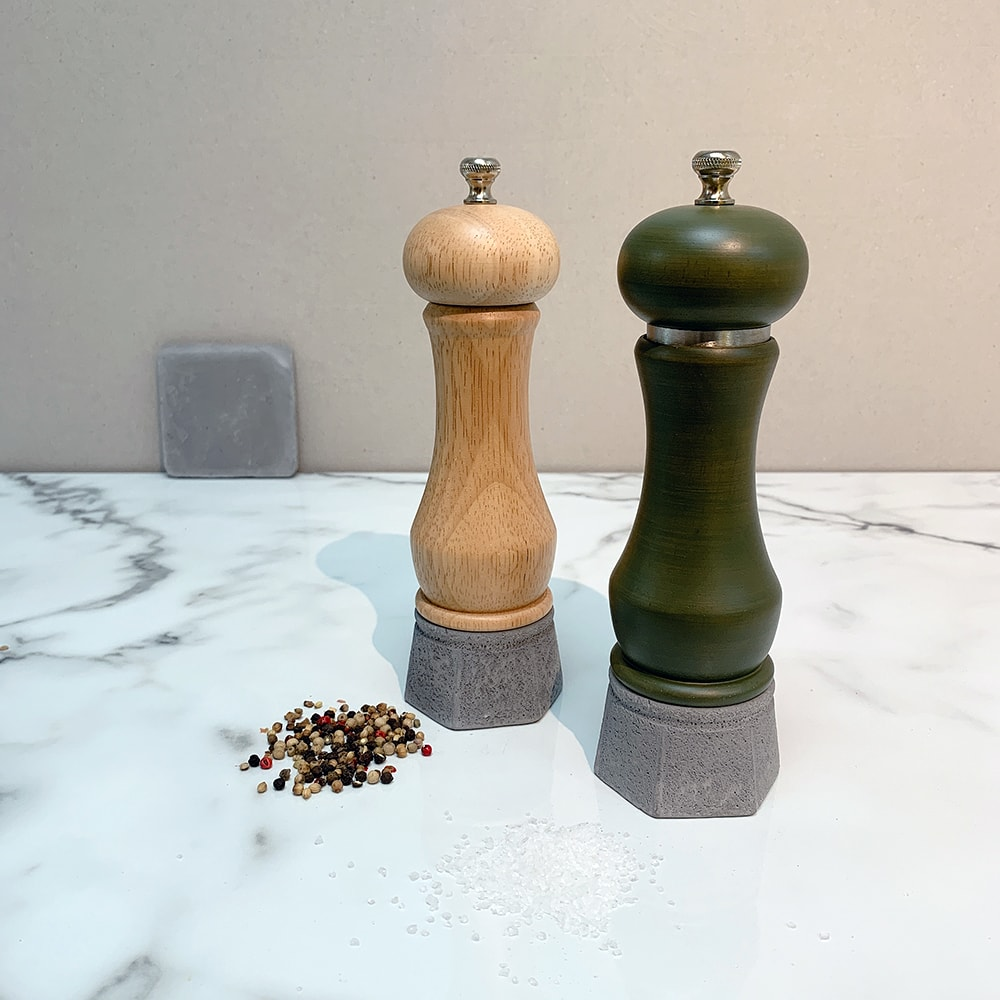 Holar - Salt And Pepper Mill Grinder - Wood Mill - Wood And Concrete Series - CEC-08 Pepper Mill - 1