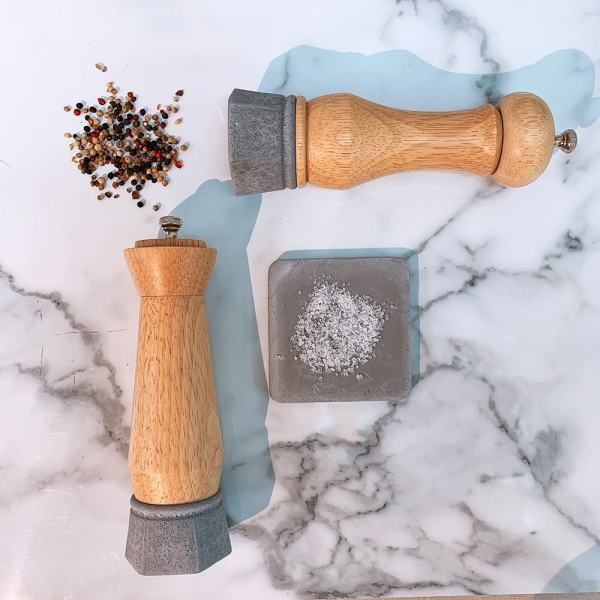 Holar - Salt And Pepper Mill Grinder - Wood Mill - Wood And Concrete Series - CEC-08 Pepper Mill - 6