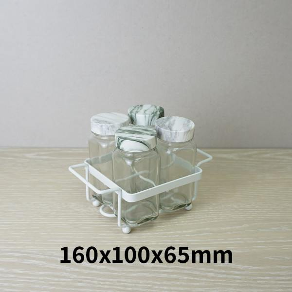 Holar - Salt Pepper Holder Stand Tray - Salt and Pepper Shaker Set Holder of 4 - WSD-F Stand