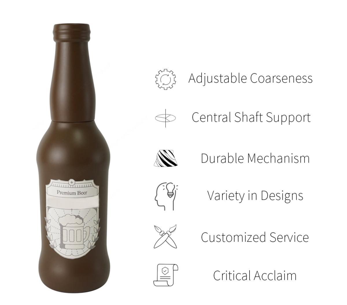 Holar - Salt and Pepper - Wood Mill - BR-02 Beer Bottle Shaped Pepper Mill - Brief