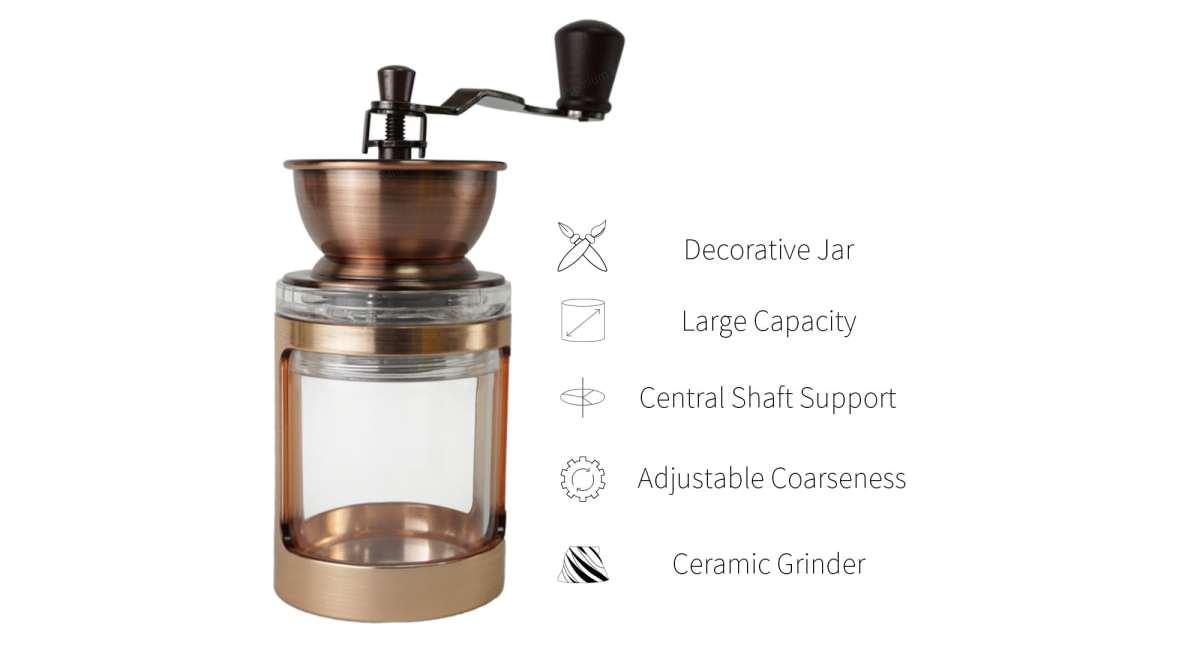 Holar acrylic manual coffee mill features_CM-DY03-G