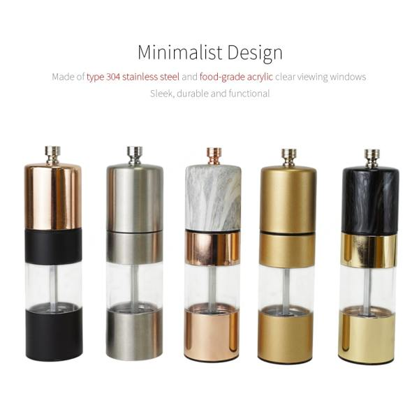 Holar delux stainless steel marble gold rose gold pepper grinders