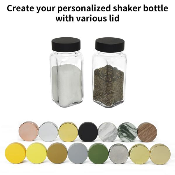 Holar glass spices jar with customized caps lids