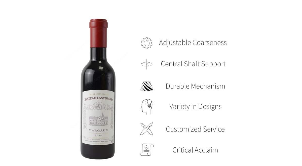 Holar red wine bottle shaped salt pepper mill set features_RW_WW