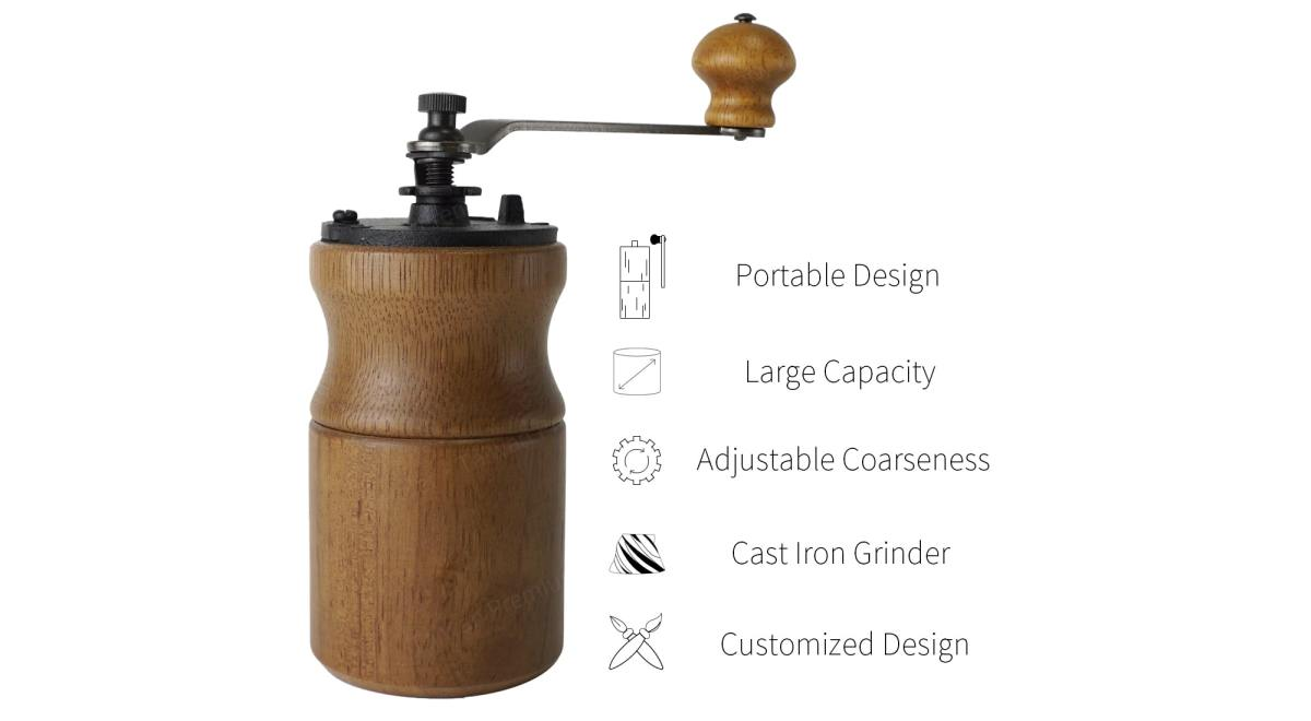 Holar wooden designed coffee mill feature_CMA19B