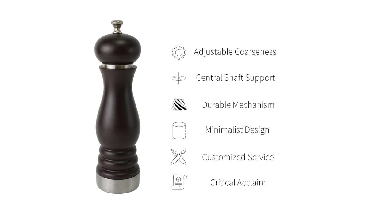 Wooden pepper mill includes precision mechanism_AT2S