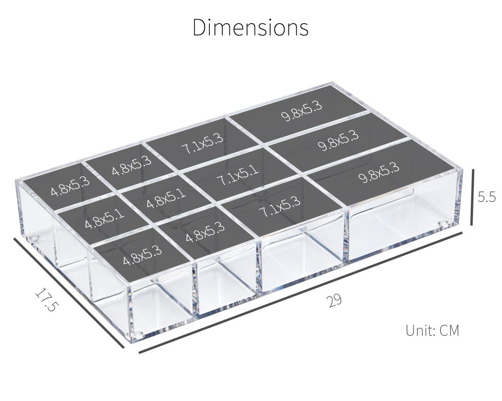 dimension of Holar AZ-26 clear drawer organizer