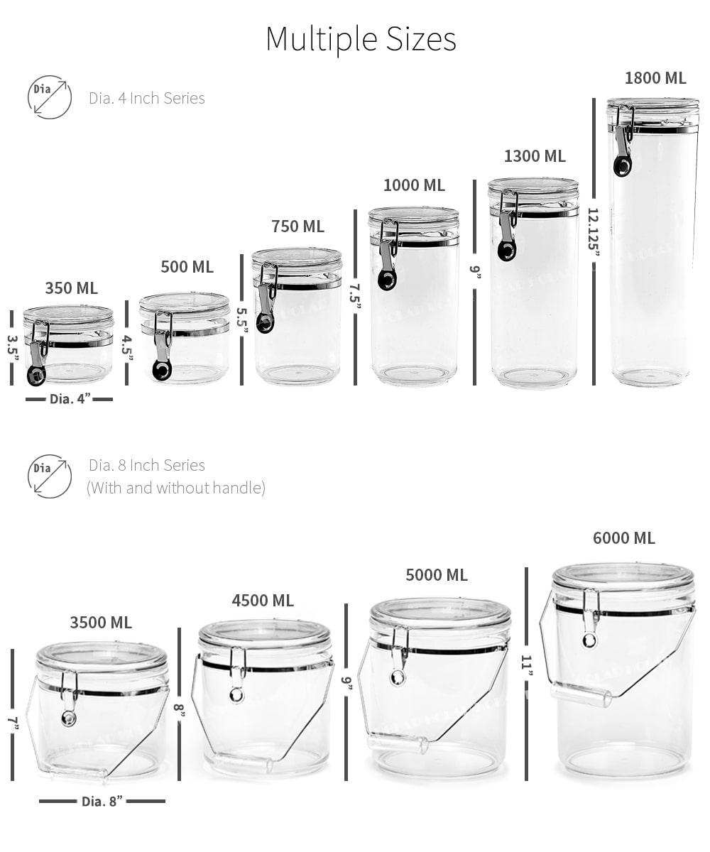 dimension of Holar food airtight jar set
