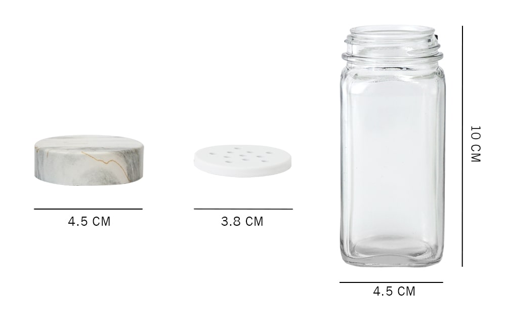 dimension_Holar glass spice jar with marble white lid