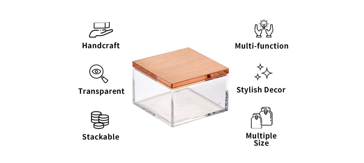 features of Holar AZ20 organizer box with rose gold lid