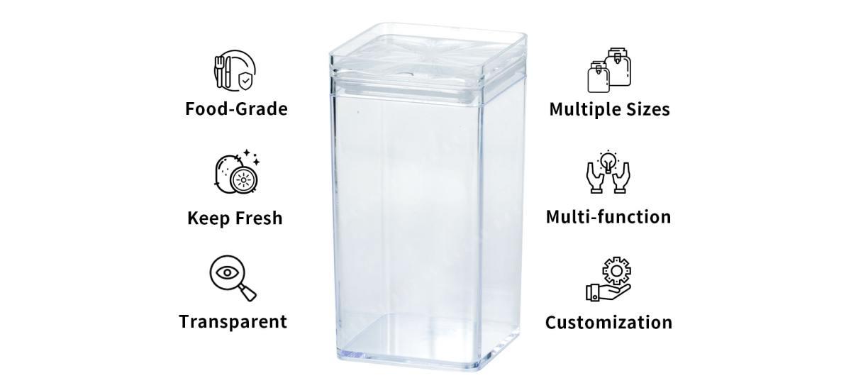 features of Holar CASQ-01 Clear Acrylic food jars