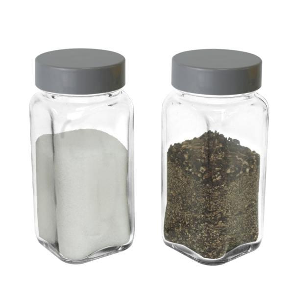 glass empty spice jar with gray lid-set