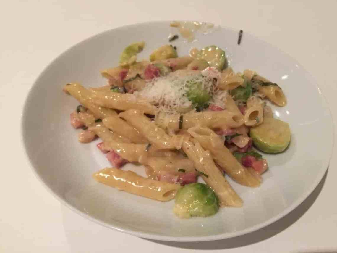 Brussels Sprout & Pancetta Pasta with Sage & Roast Garlic Cream