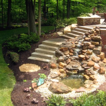 Boulder Water Feature With Steps