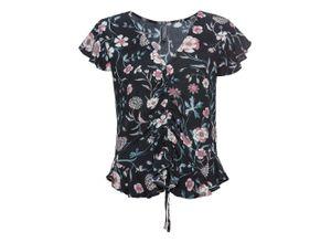 Bluse mit Blumenprint ohne Ärmel in schwarz für Damen von bonprix