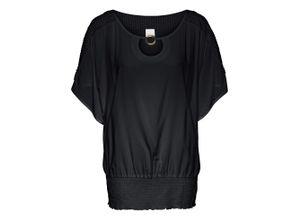 Bluse mit Spitze Flügelärmel in schwarz für Damen von bonprix