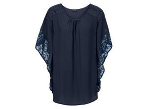 Bluse mit Spitzendetails halber Arm in blau für Damen von bonprix