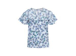 Cold-Shoulder-Bluse mit Volants kurzer Arm in blau für Damen von bonprix