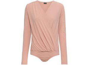 Jersey-Body langarm in rosa für Damen von bonprix