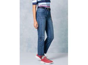 Klepper Damen Jeans Hose Coolmax Regular Fit Blau einfarbig atmungsaktiv elastisch mit flexiblem Bund temperaturausgleichend