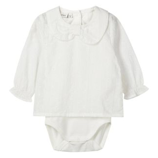 NAME IT Schleifenkragen Body-hemd Damen White