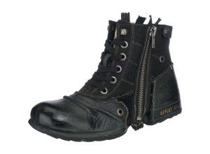 REPLAY Schnürstiefel aus Leder 'CLUTCH' schwarz