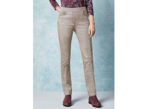 Raphaela by Brax Damen Jeans-Hose Slim Fit Beige einfarbig elastisch mit flexiblem Bund