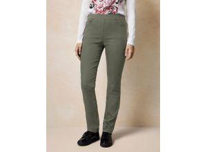 Raphaela by Brax Damen Jeans Hose Slim Fit Grün einfarbig elastisch mit flexiblem Bund