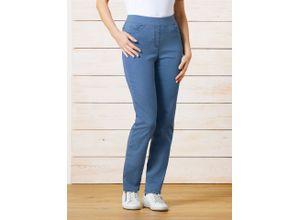 Raphaela by Brax Damen Jeans-Hose Slim Fit Hellblau einfarbig elastisch mit flexiblem Bund
