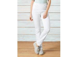 Raphaela by Brax Damen Jeans-Hose Slim Fit Weiß einfarbig elastisch mit flexiblem Bund