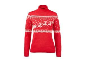 Santa-Claus-Norwegerpullover, 36 - Rot/Creme, aus Alpaka